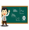 Businessman cartoon presenting on blackboard vector image