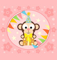 cartoon background with funny monkey vector image vector image