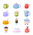 cartoon cup kids mugs hot coffee or tea vector image vector image
