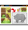 Cartoon yak puzzle game vector image vector image