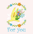 cute bunny with flowers in a frame flowerscute vector image