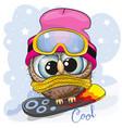cute cartoon owl on a snowboard vector image