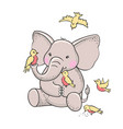 cute hand drawn elephant with birds vector image