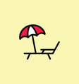 deckchair with umbrella icon thin line color vector image vector image