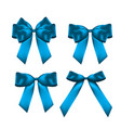 decorative blue bow collection set 3d realistic vector image