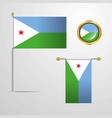 djibouti waving flag design with badge vector image vector image