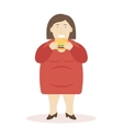 Fat Woman Eating Burger vector image