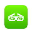 glasses for 3d movie icon digital green vector image