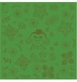 Green backgrounds flowers doodle art vector image