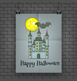 halloween poster hanging on the wall vector image