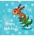 Happy Holidays card with cute cartoon deers vector image