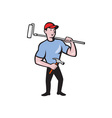 House Painter Holding Paint Roller Cartoon vector image vector image