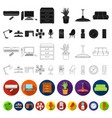 interior of the workplace flat icons in set vector image vector image