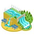 isometric alternative energy sources concept vector image vector image