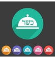 Kosher food platter dish meal icon sign symbol vector image