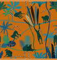 lemur in jungle seamless pattern vector image