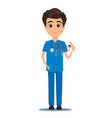 medical doctor in blue uniform holding his badge vector image