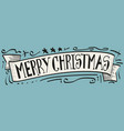 merry christmas painted in ink hand lettering vector image