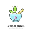Mortar and pestle alternetive ayurvedic medicine vector image
