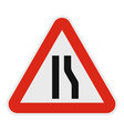 narrowing right road icon flat style vector image vector image