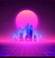 night city skyline 80s retro sci-fi background vector image vector image