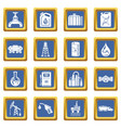 oil industry icons set blue square vector image vector image