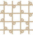 seamless nautical rope pattern beige on white vector image
