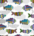 Seamless pattern with colorful fish vector image vector image