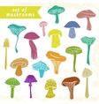 Set of different hand drawn varicolored mushrooms vector image vector image