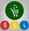 shopping cart icon with a recycle sign 4 vector image