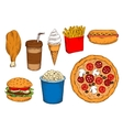 Sketches of fast food lunch with coffee ice cream vector image vector image