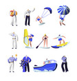 summer time extreme sports and sea professions set vector image vector image