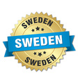 Sweden round golden badge with blue ribbon vector image vector image