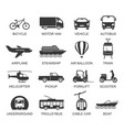 transport line art icon set with names vector image vector image