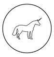unicorn icon black color in circle round vector image