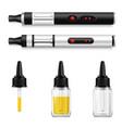 vaping liquid and electronic cigarette realistic vector image vector image