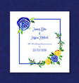 watercolor floral anniversary frame invitation vector image vector image