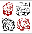 wild bears ina tribal style isolated on white vector image vector image