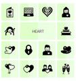 14 heart filled icons set isolated on white vector image vector image