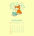 2018 september calendar with welsh corgi dog vector image vector image