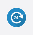 24 hours service Flat Blue Simple Icon with long vector image vector image