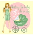 a pregnant girl waiting for boy vector image vector image