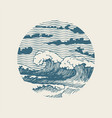 banner with hand-drawn sea waves in japanese style vector image