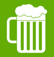 beer mug icon green vector image