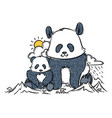 big and small panda in the mountains vector image vector image