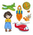 boy dream children game cartoon vector image