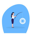 businesswoman fishing rod cogwheel working process vector image