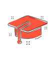cartoon education hat icon in comic style vector image