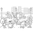 cartoon kids with dogs coloring page vector image vector image