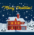 christmas holidays house with xmas lights and snow vector image